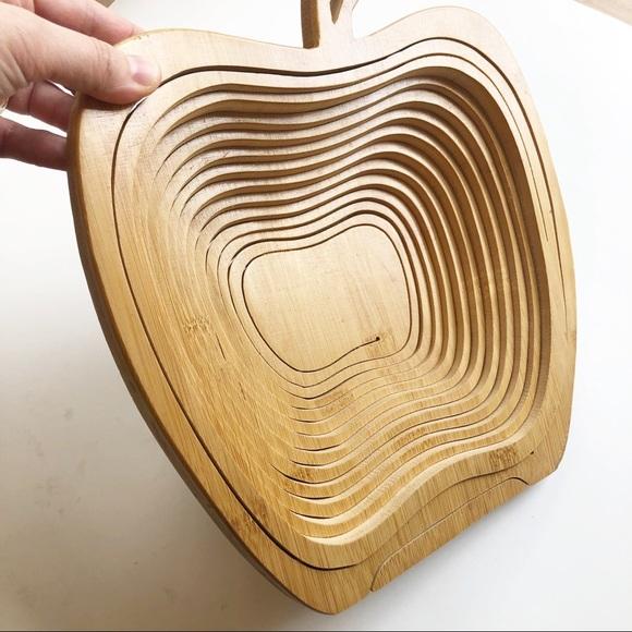 Vintage Collapsible Wooden Apple Bowl